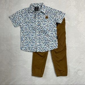 American Hawk All Over Print Woven Shirt and Pants